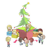Christmas tree around presents. Vector illustration. — ストックベクタ