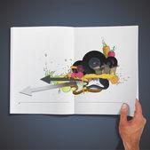 Coloré affiche de la fête de la musique imprimée sur du livre. conception de vecteur. — Vecteur