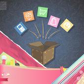 Box shop over vintage background. Vector design. — Stock Vector