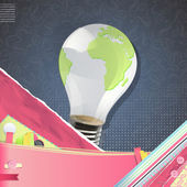 Eco light bulb with world inside over vintage background. Vector design. — Stock Vector