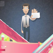 Business man holding a card over vintage background. Vector design. — Stock Vector