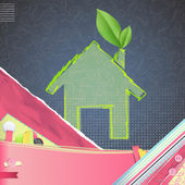 Icon of a house with a leaf over vintage background. Vector design. — Stock Vector