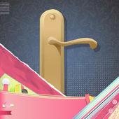 Dörrhandtaget över vintage bakgrund. vektor design. — Stockvektor