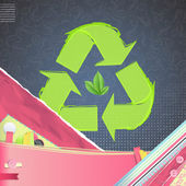 Recycle icon over vintage background. Vector design. — Stock Vector
