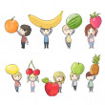 Kids holding fruits. Vector design — Stock Vector