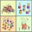 Set of kids around many gifts. Vector illustration. — Stock Vector