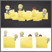 Kids around yellow Postit. Vector design — Stock Vector