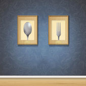Realistic fork and spoon on wood frame. Vector design. — Stock Vector