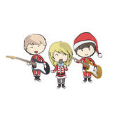 Kids with Santa Claus costume playing music. Vector design — Stock Vector