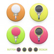 Kids holding labels printed on colorful button. Vector design — Stock Vector