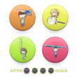 Kids holding tools printed on colorful button. Vector design — Stock Vector
