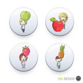 Kids holding colorful fruits printed on button. Vector design — Stock Vector