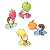 Kids holding fruits inside hole papers. Vector design. — Stock Vector