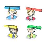 Barnen håller klädnypa inne hål papper. vektor design. — Stockvektor
