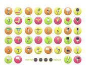 Set of kids printed on colorful button. Vector design. — Stock Vector