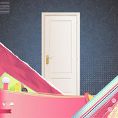 Realistic door over cute background. Vector design. — Stock Vector