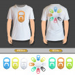 Set of colorful ring of can printed on white shirt. Vector design.  — Imagen vectorial