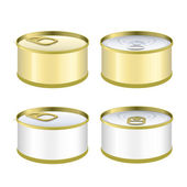 Set of can of tuna over white background. Vector design — Stock Vector