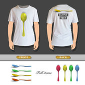 Shirt spoonCollection of colorful spoons printed on white shirt. Vector design. colorful — Stock Vector