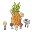 Kids around fruits. Vector design — Stock Vector
