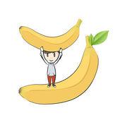 Kids around fruits. Vector design — Stock Vector