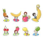 Enfants tenant des fruits. conception de vecteur — Vecteur