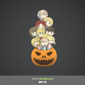 Kids inside pumpkin. Vector design. — Stock Vector