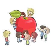 水果周围的孩子们。矢量设计 — 图库矢量图片