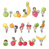 Kids holding several fruits. Vector design — Stock Vector