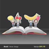Crianças segurando frutas. vector design — Vetorial Stock