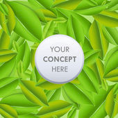 Abstract background with leaves and button. Vector design — ストックベクタ