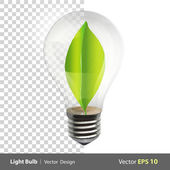 Bulb with a green leaf inside. Realistic vector design — Stock Vector