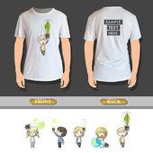 Kids holding eco light bulbs printed on shirt. Vector design — Stock Vector