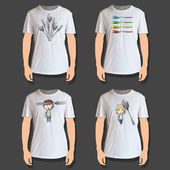 Set of white shirt design — Cтоковый вектор