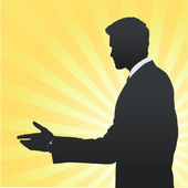 Silhouette of businessman making a deal. Vector design. — Stock Vector