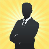 Silhouette of business man with his arms crossed. Vector design. — Stock Vector
