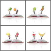 Kid around a heart printed on book. Vector design — Stockvektor