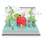 Kid around a heart printed on book. Vector design — Stock Vector