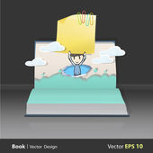 Kid runt ett hjärta tryckt på bok. vektor design — Stockvektor