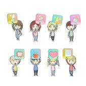 Kids holding lot of icons. Vector design. — Stock Vector
