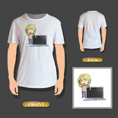 Girl holding a modern laptop printed on t-shirt. Vector design. — Stock Vector
