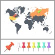 Worlds map over white background. Vector background — Imagen vectorial