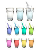 Set of water glasses over white background. Vector design — Stock Vector