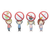 Kids holding prohibited signs over white background. Vector design — Stock Vector