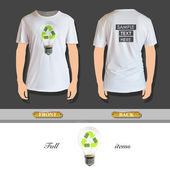 Eco lightbulb printed on t-shirt. Vector design. — Stockvektor