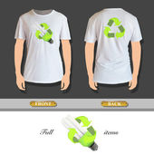 Eco lightbulb printed on t-shirt. Vector design. — Cтоковый вектор