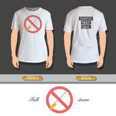 Prohibited sign with cigar printed on t-shirt. Vector design. — Stock Vector
