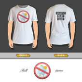 Prohibited sign with alarm printed on t-shirt. Vector design. — Stockvector