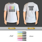 Colorful knives printed on t-shirt. Vector design. — Vettoriale Stock