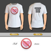 Prohibited sign with heart printed on t-shirt. Vector design. — Stock vektor